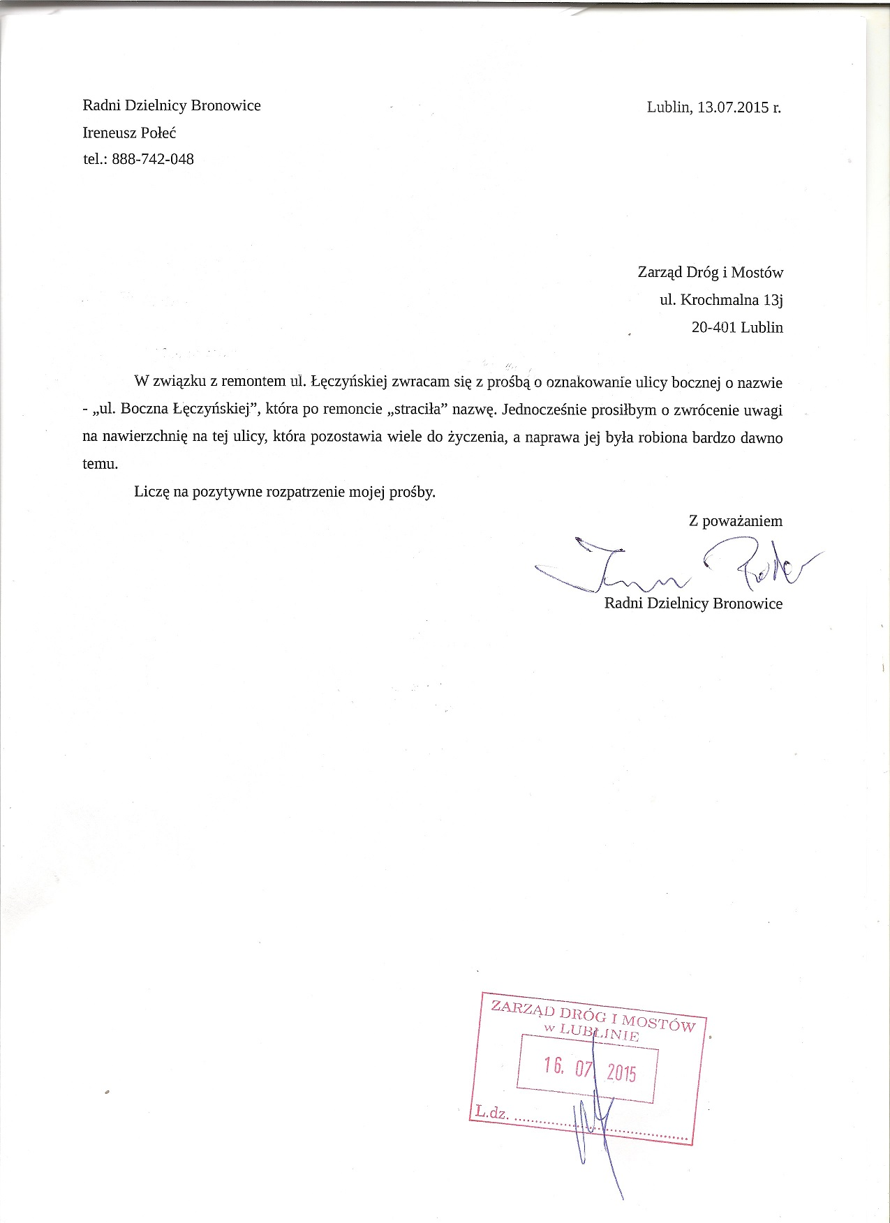 ul. Boczna Łęczyńskiej - oznakowanie i remont