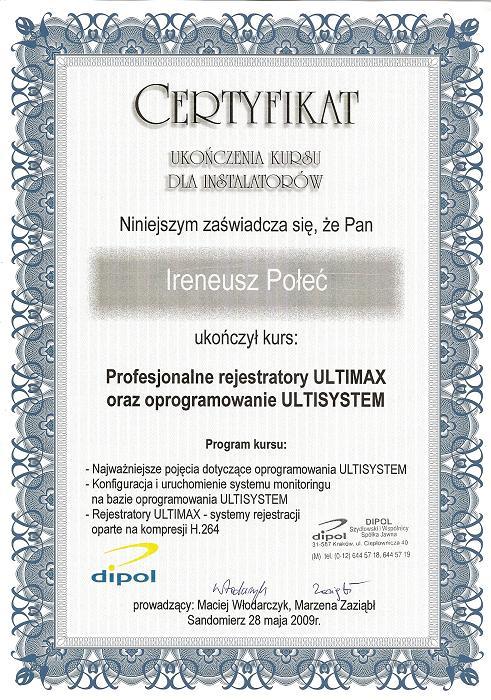 Certyfikat Profesionalne rejestratory ULTIMAX oraz oprogramowanie ULTISYSTEM