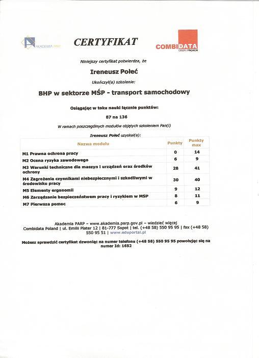 BHP MOP - transport samochodowy