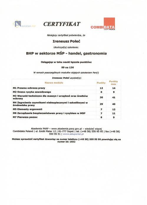 BHP w sektorze MOP - handel, gastronomia
