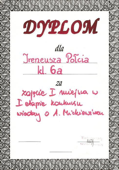 1 Miejsce Adam Mickiewicz