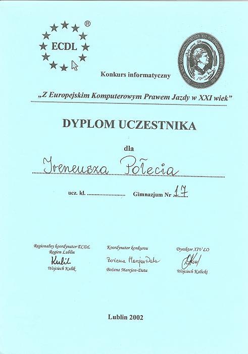Dyplom uczestnika ECDL