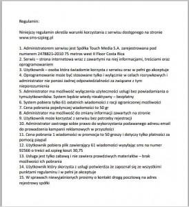 Regulamin SMS-szpieg.pl