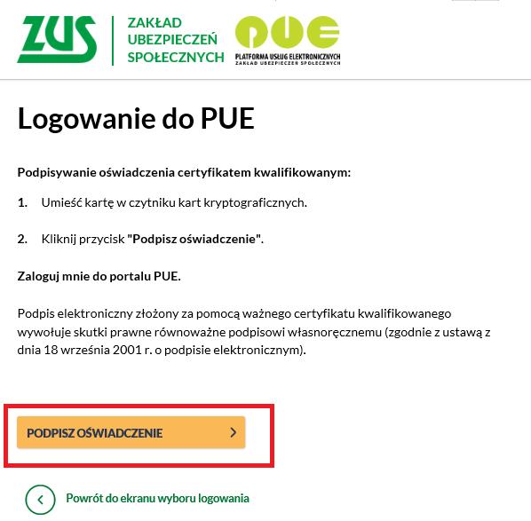 Logowanie do PUE.ZUS.PL