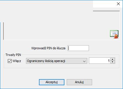 Wprowadzenie PIN'u do podpisu elektronicznego