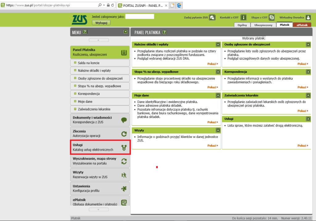Strona po zalogowaniu zus.pue.pl