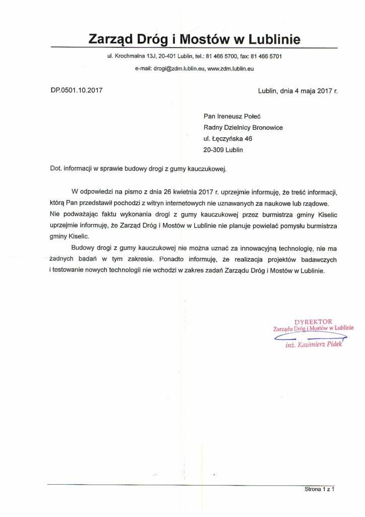 Droga z gumy kauczukowej - odpowiedź Zarządu Dróg i Mostów w Lublinie