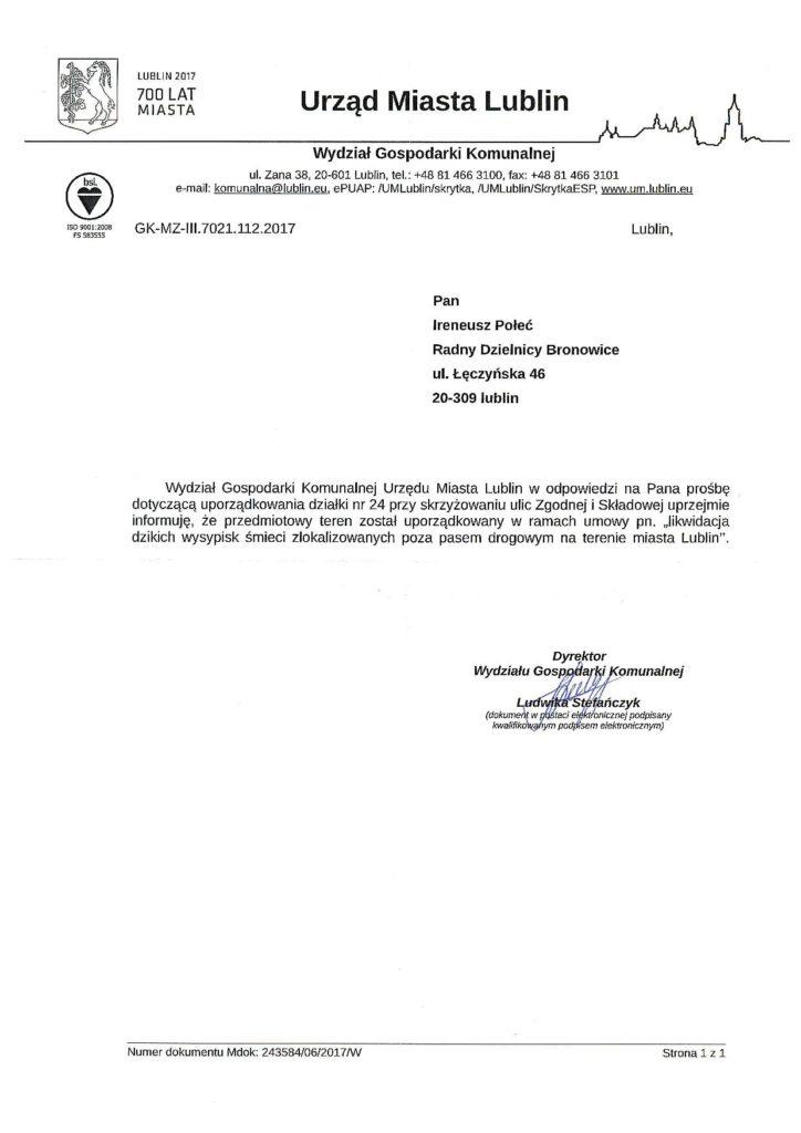 Wykoszenie ul. Zgodna ul. Składowa w Lublinie