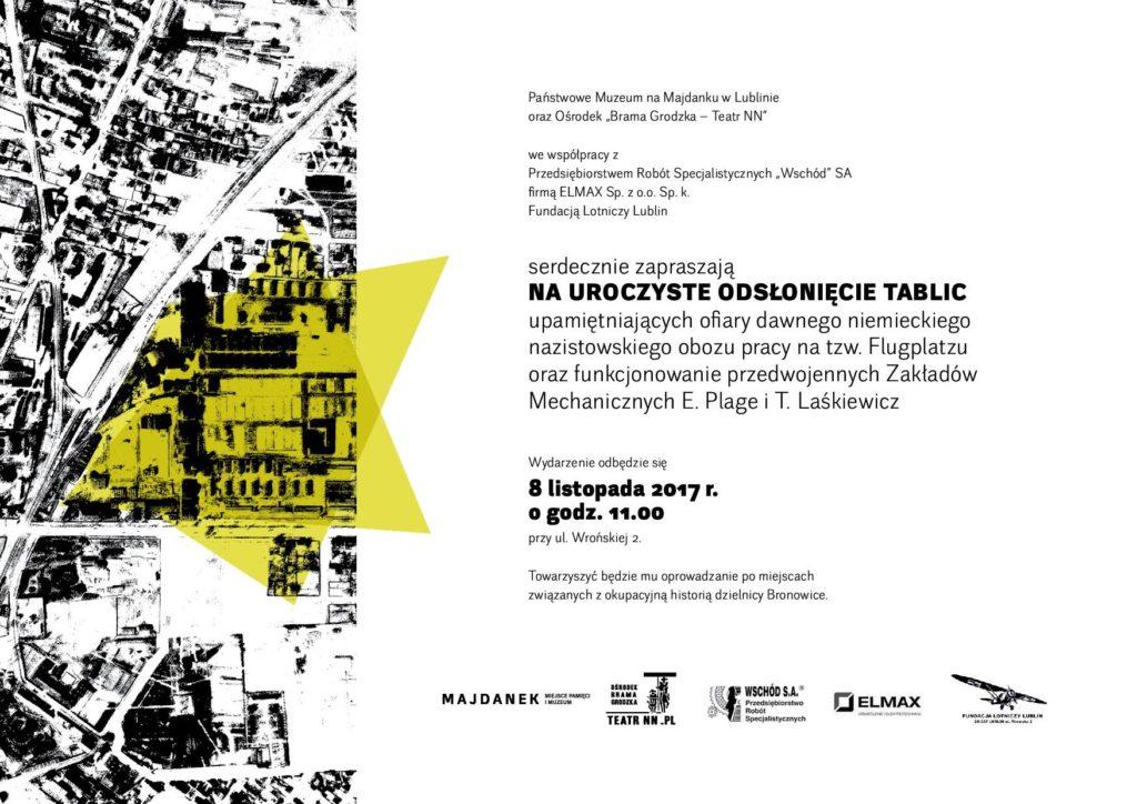Uroczyste odsłonięcie tablic upamiętniających ofiary dawnego niemieckiego nazistowskiego obozu pracy na tzw. Flugplatzu oraz funkcjonowanie przedwojennych Zakładów Mechanicznych E. Plage i T. Laśkiewicz.
