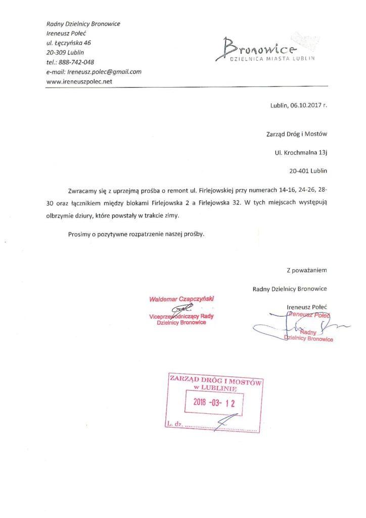 Remont ul. Firlejowskiej