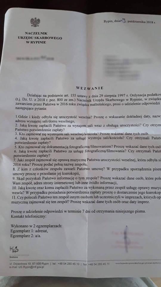 Wezwanie do udzielenia odpowiedzi Naczelnik Urząd Skarbowy w Rypinie