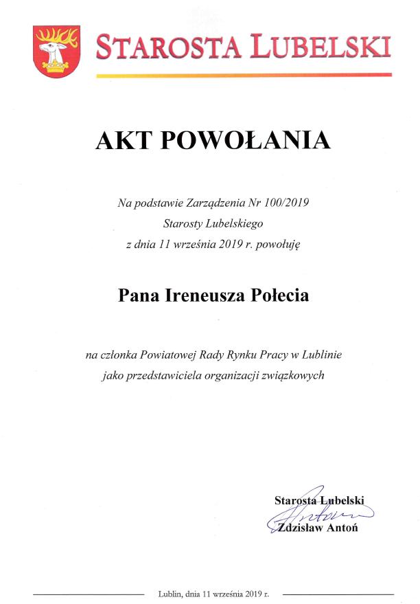 Akt powołania na członka Powiatowej Rady Rynku Pracy w Lublinie